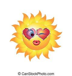 emoticon, 形づくられた心, 傾向, 太陽, イラスト, sunglasses., ベクトル, 接吻, 接吻, winking., 漫画, 3d