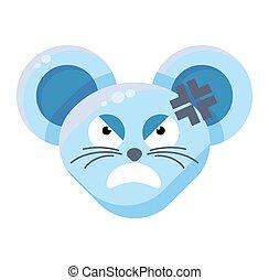 emoticon, 怒る, ステッカー, マウス, 顔