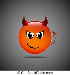 emoticon, 悪魔, イラスト, ベクトル, 角, emoji