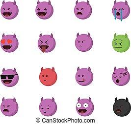 emoticon, 悪魔, セット