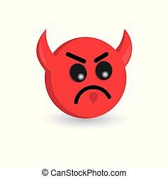 emoticon, 悪魔, 隔離された, イラスト, バックグラウンド。, ベクトル, 白, emoji