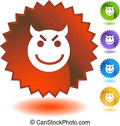 emoticon, 悪, にやにや笑い