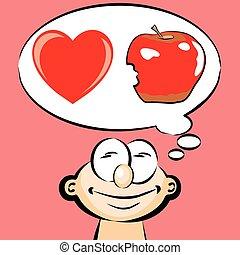 emoticon, -, 愛, アップル, 食べなさい