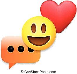 emoticon, 愛, バレンタイン, アイコン, シンボル, 日, emoji