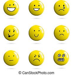 emoticon, 手, 現実的, ベクトル, 微笑, 引かれる, ∥あるいは∥, 3d