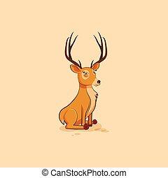 emoticon, 特徴, ステッカー, 鹿, 隔離された, イラスト, サイト, 顔つき, 疑いをもって, 斜視,...