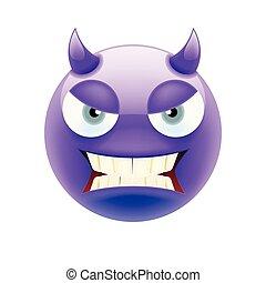emoticon, 目, 悪魔, 怒る, 灰色, 歯