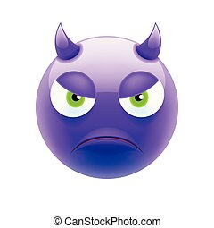 emoticon, 目, 悪魔, 緑, 怒る
