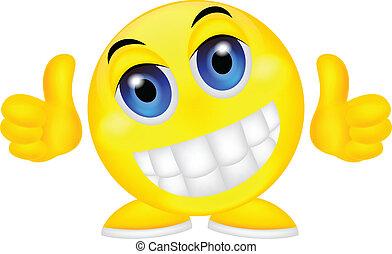 emoticon, 笑臉符, 姆指向上