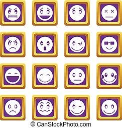 emoticon, 紫色, セット, アイコン