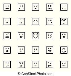 emoticon, 線, セット, アイコン