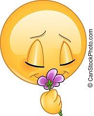 emoticon, 花, においをかぐ