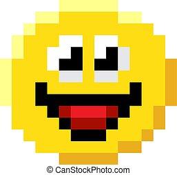 emoticon, 芸術, 顔, ゲーム, ビデオ, 8, ビット, ピクセル, アイコン