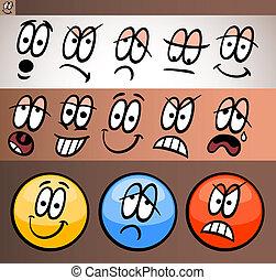 emoticon, 要素, セット, 漫画, イラスト