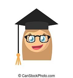 emoticon, 設計, 卡通, 女性, 畢業生