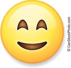 emoticon, 隔離された, 顔, 背景, 白, emoji