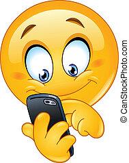 emoticon, 電話, 聰明