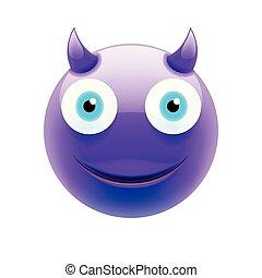 emoticon, 青い目, 悪魔, 幸せ