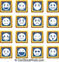 emoticon, 青, セット, アイコン