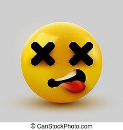emoticon, 3, holt, szemek, arc, kereszt, rendering., emoji.
