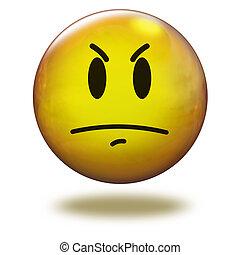 emoticon, 3d., fâché, render