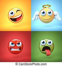 emoticon, 3d, rendre, arrière-plans, divers, coloré