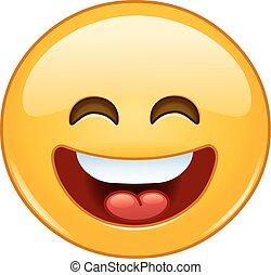 emoticon, abierto, boca de ojos, sonriente