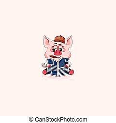 emoticon, adesivo, charuto, porca, jornal, leitura
