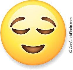emoticon, aliviado, isolado, rosto, fundo, branca, emoji