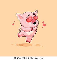 emoticon, amor, adesivo, voando, personagem, isolado, porca,...