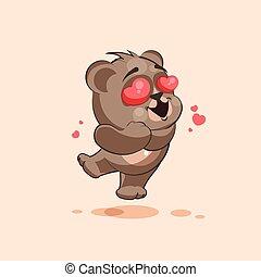 emoticon, amor, adesivo, voando, personagem, isolado, urso,...