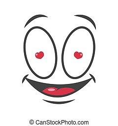 emoticon, amor, rosto, vetorial, sorrizo, emoji, caricatura, ícone