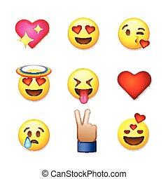 emoticon, amour, illustration., ensemble, valentines, icônes, isolé, fond, vecteur, blanc, jour, emoji