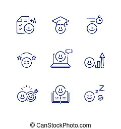 Emoticon and education concept, fun learning, study for exam or test, preschool preparation
