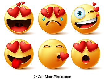 Emoticon and emoji with heart vector faces set. Emoticons of red heart with in love, broken, kissing, surprise and funny cute expression isolated in white background. Vector illustration.
