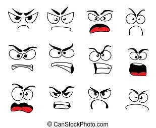 emoticon, arrabbiato, scombussolare, faccia, umano, icona, emoji