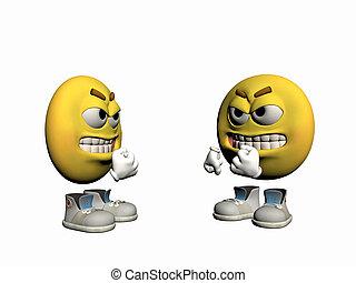 emoticon, arrabbiato, tipo, disputing.
