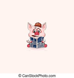 emoticon, aufkleber, zigarre, schwein, zeitung, lesende
