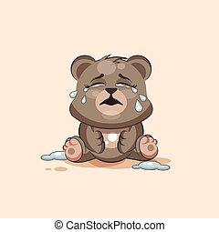 emoticon, autocollant, caractère, isolé, ours, larmes, lot,...