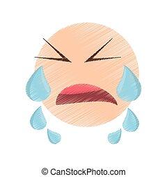 emoticon, avbild, teckning, grät