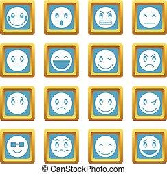 emoticon, azzurro, icone