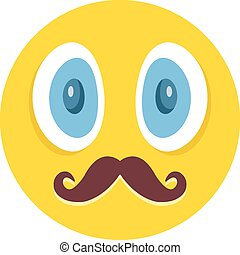 emoticon, bigotes, impresionante