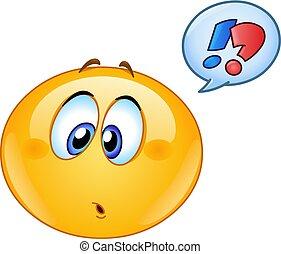 emoticon, bolla, discorso, confuso