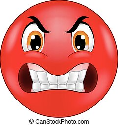 emoticon, boos, smiley, spotprent