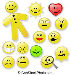 emoticon, bottone, smiley, famiglia, faccia