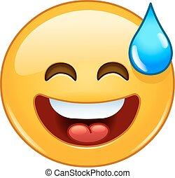 emoticon, bouche, sueur, sourire, ouvert, froid