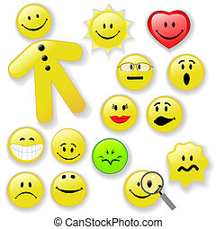 emoticon, bouton, smiley, famille, figure