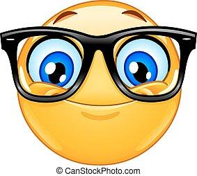 emoticon, brille