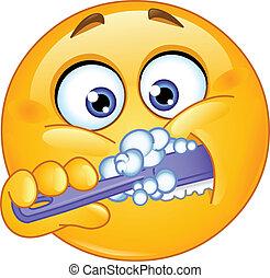 Emoticon brushing teeth - Emoticon brushing his teeth