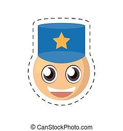 emoticon, cômico, imagem, policial